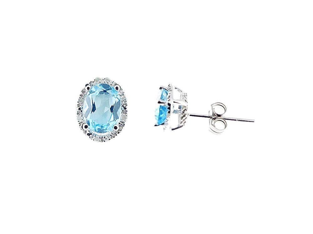 aab0b7659b47 Details about 14K White Gold Blue Topaz Diamond Stud Earrings ...