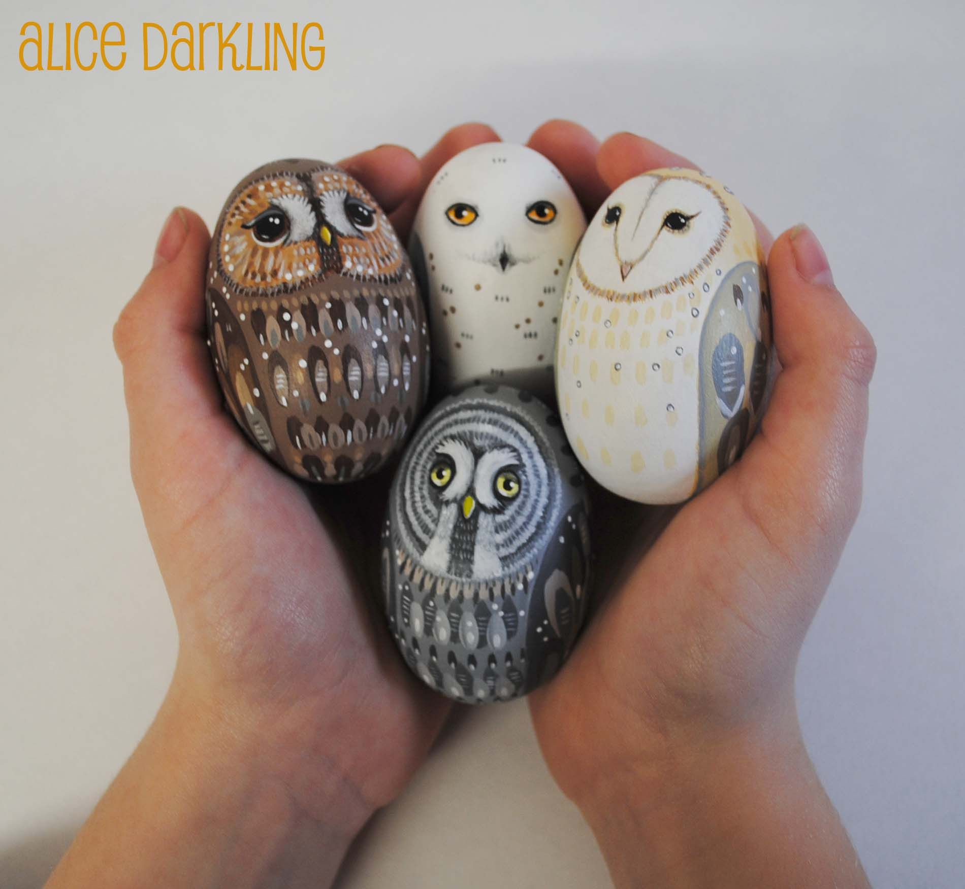 Hand painted wooden Owl eggs: Tawny,, Snowy, Barn and Great Grey owls (by Alice Darkling)