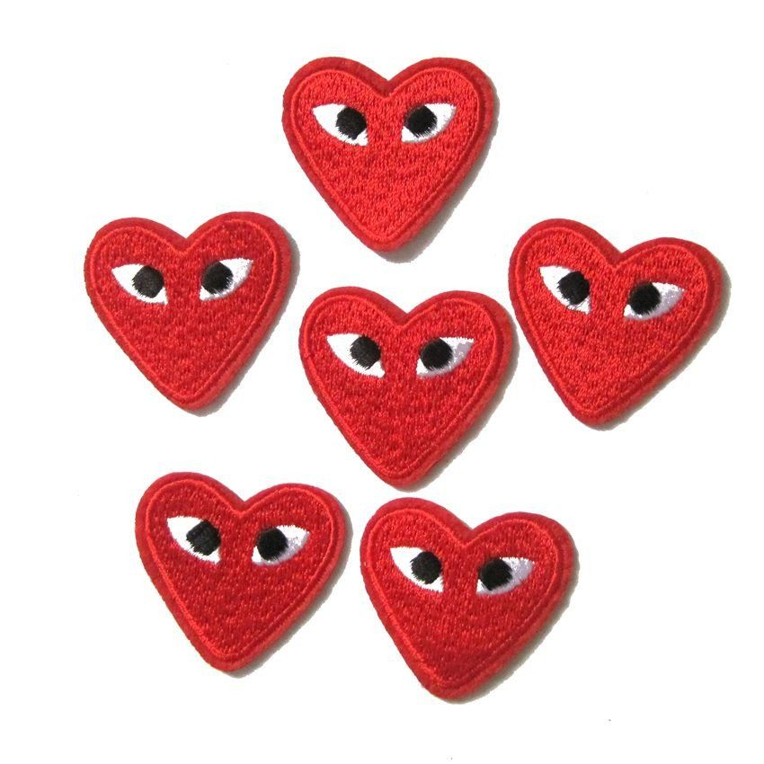 4pcs Comme Des Garcons Red Heart Eyes Embroidered Iron On Patch Embroidered Patches Sew On Badges Embroidered
