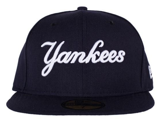 Custom New York Yankees Script Navy 59Fifty Fitted Baseball Cap by NEW ERA  x MLB bfa242eae1ab