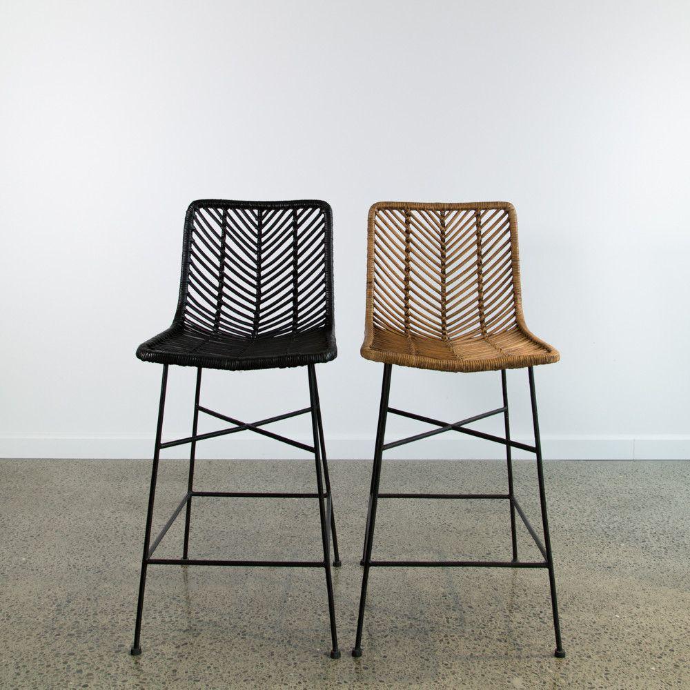 Black rattan bar stool rustic bar stools wicker bar