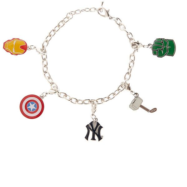 Avengers New York Yankees Avengers Charm Bracelet ($12) ❤ liked on Polyvore featuring jewelry, bracelets, bracelet charms, charm bracelet, adjustable bracelet, bracelet bangle and charm bangle