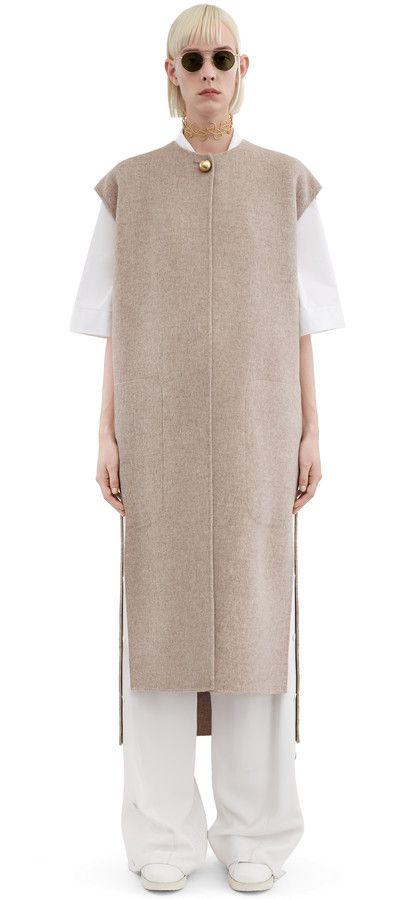 Acne Studios Vento beige melange sleeveless coat in a soft double cashmere blend #AcneStudios