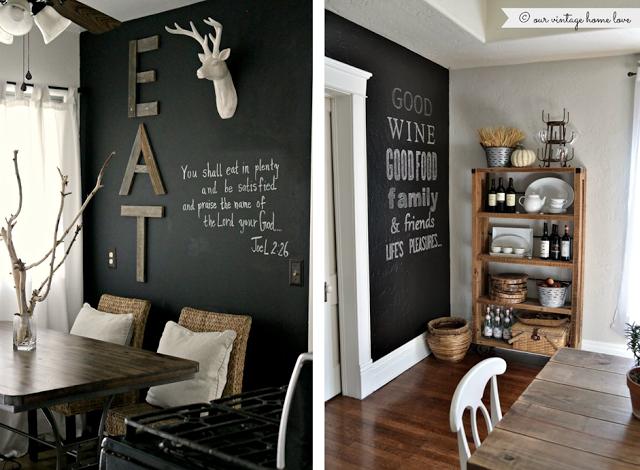 Un Mur Ardoise Peinture à La Chaux Tableau Noir Et Mur - Tableau decoration sejour pour idees de deco de cuisine