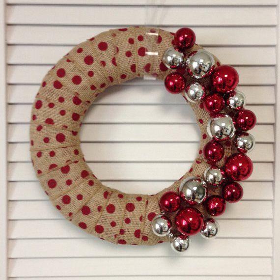 "Christmas Wreath, 12"" Red Polka Dot Burlap Christmas Wreath  #wreath #christmasdecor #handmade #etsy #contemporarycrafting"