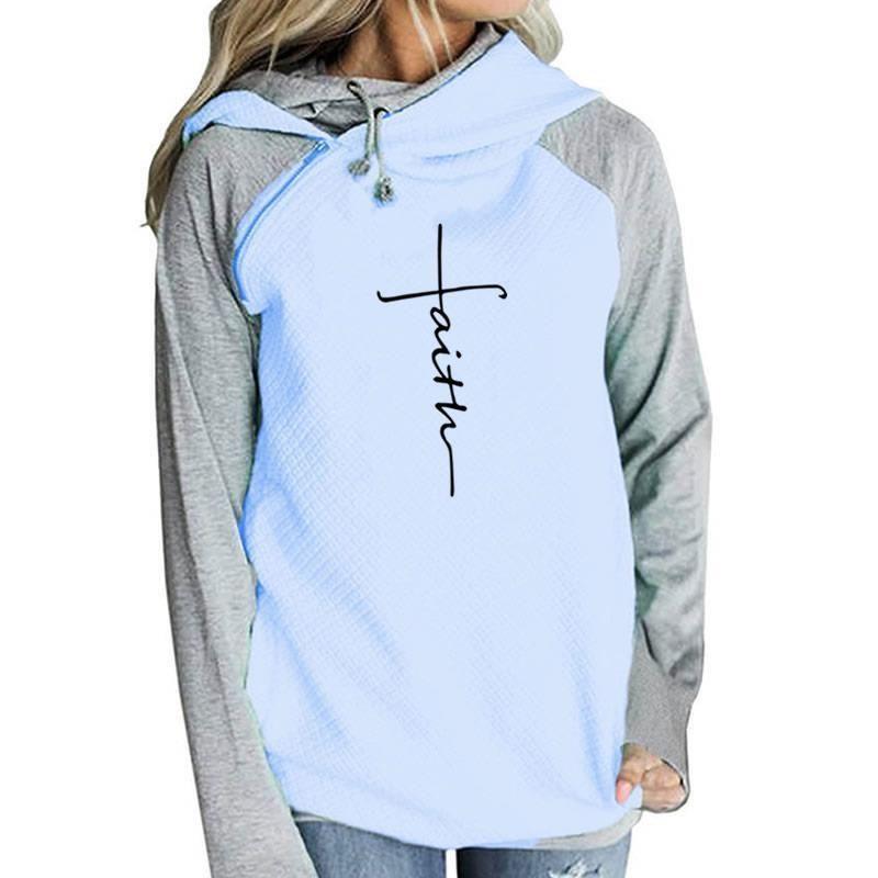 US Women Fashion Faith Print Sweatshirt Fleece Sweatshirts Hoodies Pullover Tops
