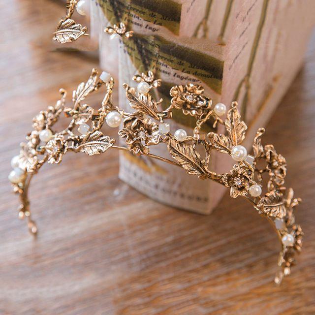 US $9.56  Vintage stirnband barock crown 2017 Gold Farbe Imitation perle kronen haarband hochzeit haar schmuck braut zubehör    - AliExpress