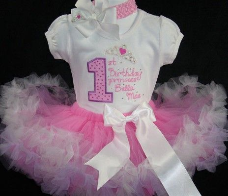 Baby Girl'S First Birthday Tutu Set  Outfit Cake Smash  Personalised Pink