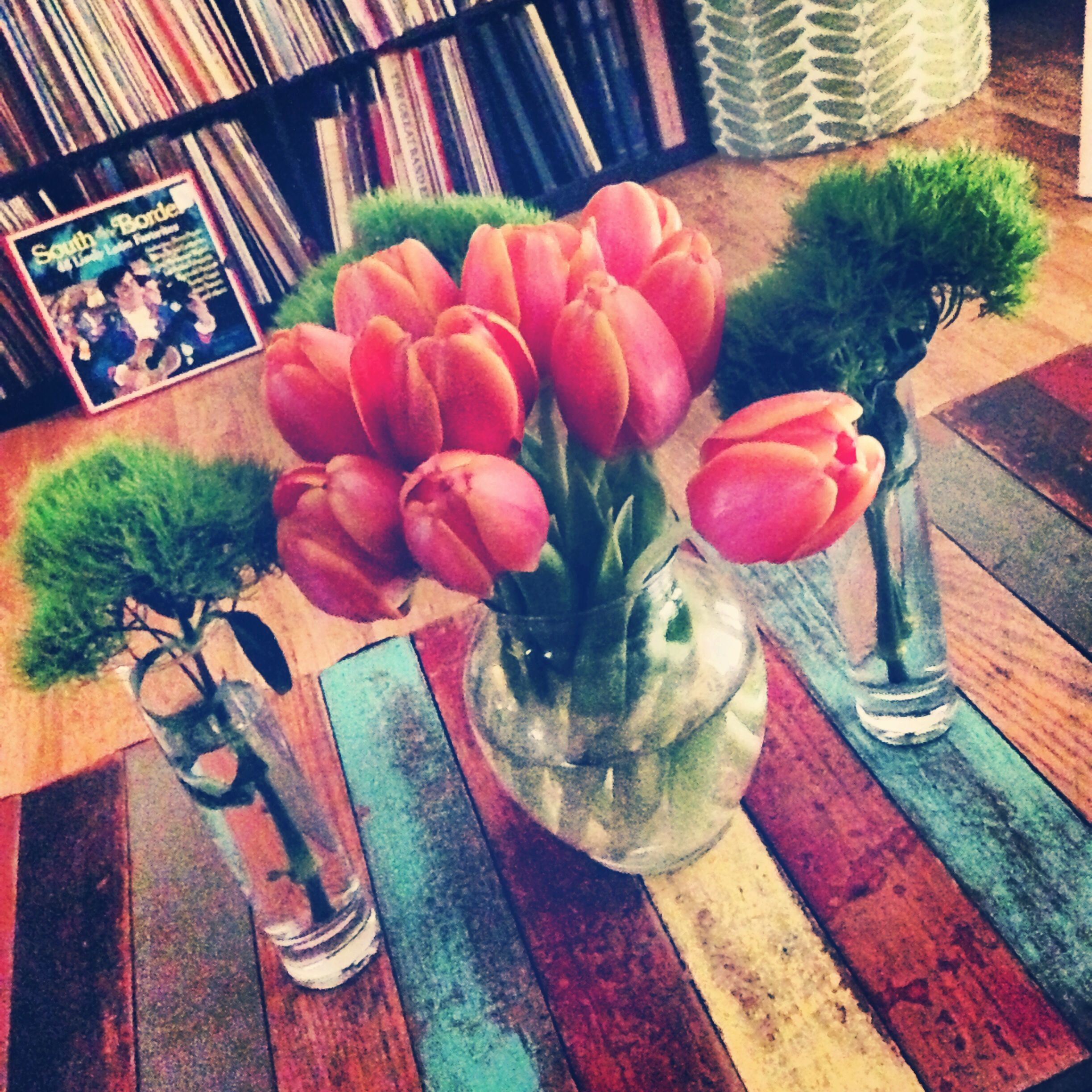 Got these at a wedding I performed at. Florist was throwing them away, so took them home to brighten up my living room...for FREE!  #tulips #flowers #livingsense #livingcents