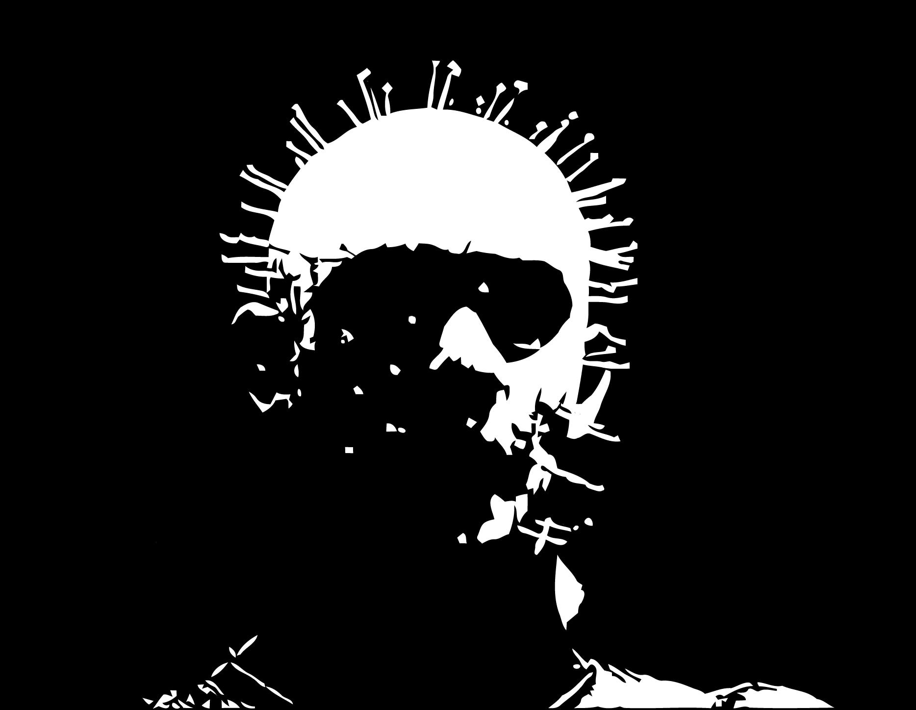 Chucky Clipart Black And White: Pinhead Hellraiser Stencil Template