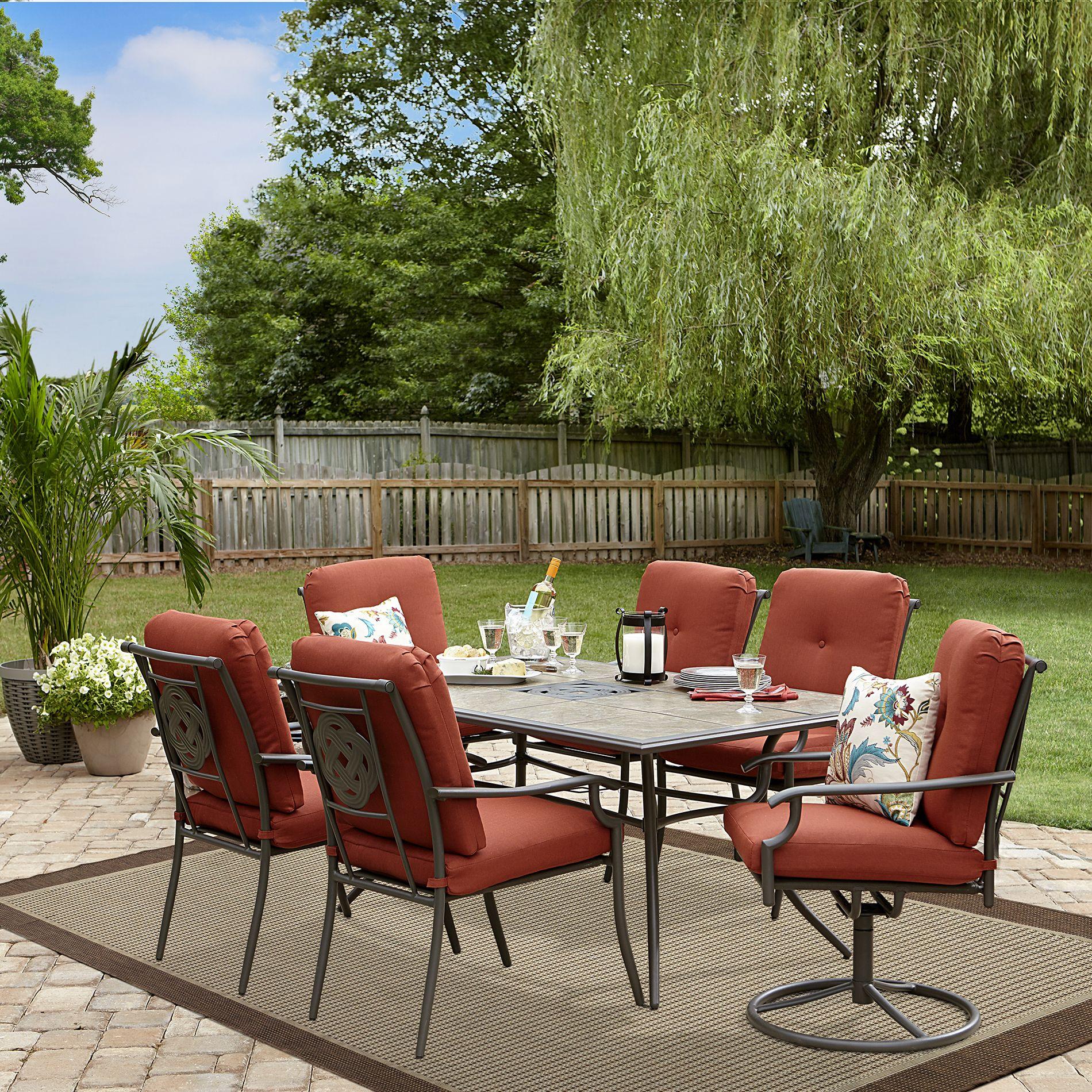 Outdoor Garden Oasis Brookston 7 Pc Ceramic Top Dining Set Red