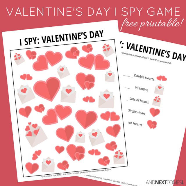 Valentine S Day I Spy Game Free Printable For Kids Spy Games For Kids Valentines For Kids Valentines Day Activities