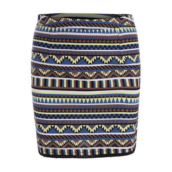 Geometric Print Bodycon Skirt ($17) ❤ liked on Polyvore featuring skirts, body con skirt, knee length bodycon skirt, geometric print skirt, bodycon skirt and geometric skirt