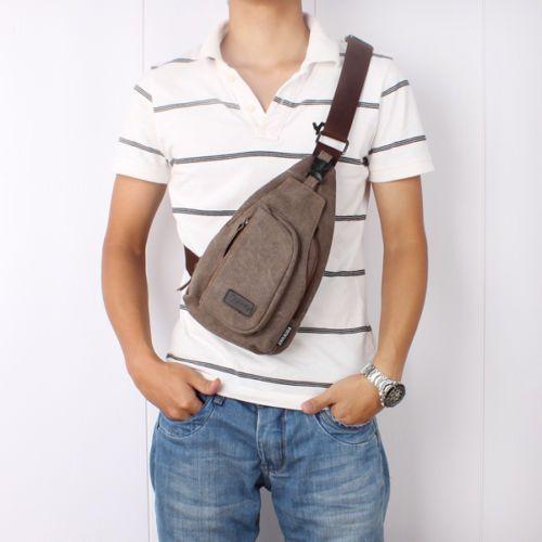 Cool Men/'s Canvas Unbalance Backpack Shoulder Sling Chest//Hiking Bicycle Bag Y