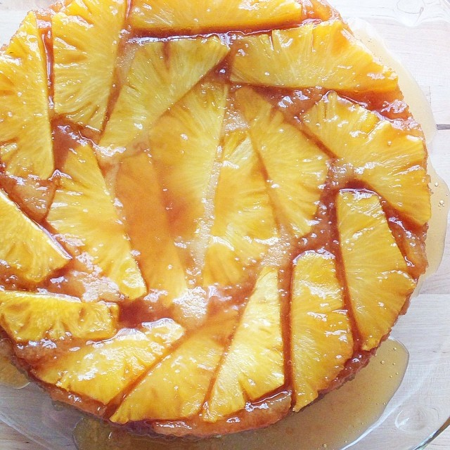 Fresh Pineapple Upside Down Cake {traditional and gluten free recipes} | Barefeet in the Kitchen