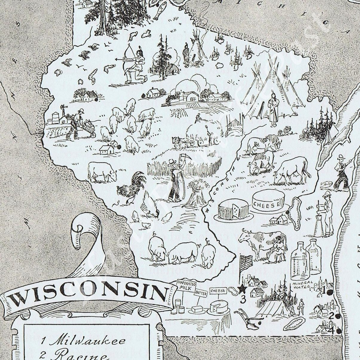 Vintage Map of WISCONSIN Home Is Where the Heart Is Pinterest