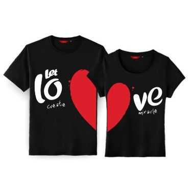 1a95f3ec Korean Style Couple T Shirts Matching Half Heart Set of 2 in 2019 ...