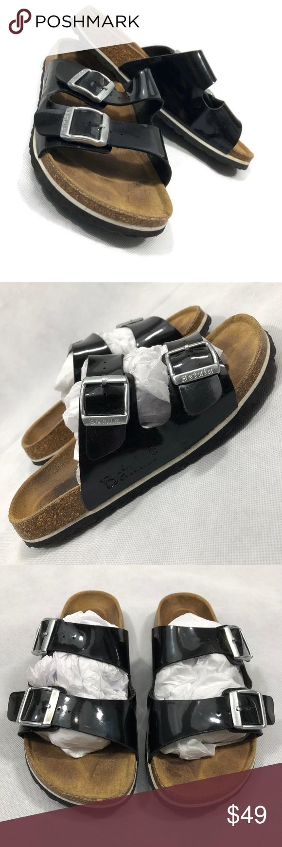 990ee66fde2 Betula Black 2 Strap Sandals Slip On Sandals 37 Betula- Licensed by  Birkenstock 2 strap