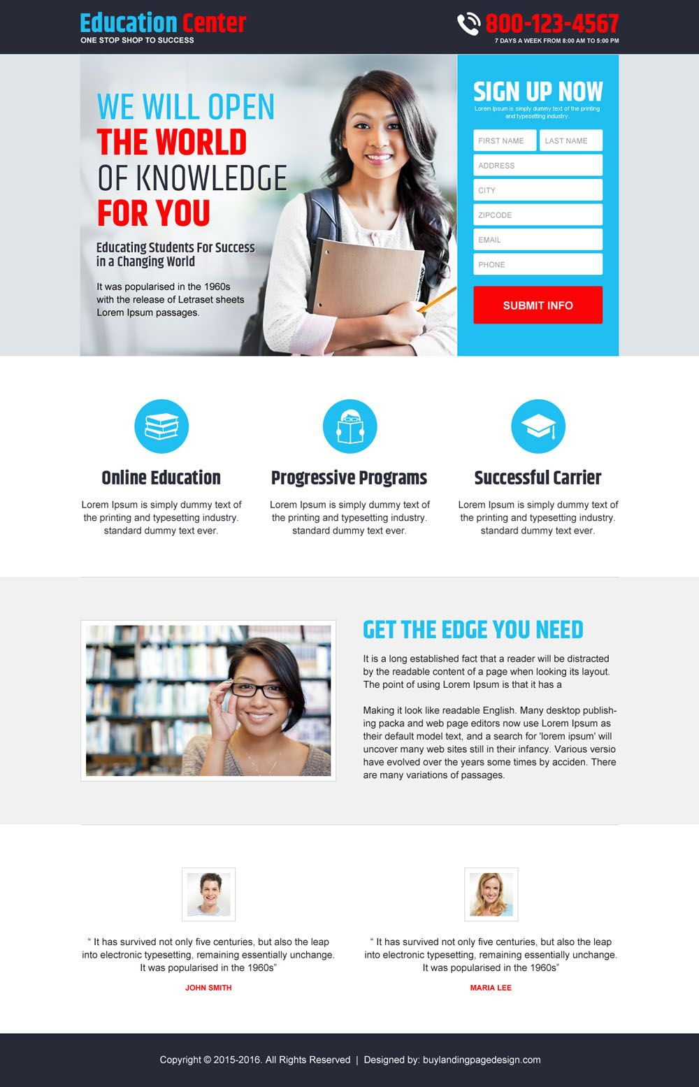 online education service best converting landing page design ...