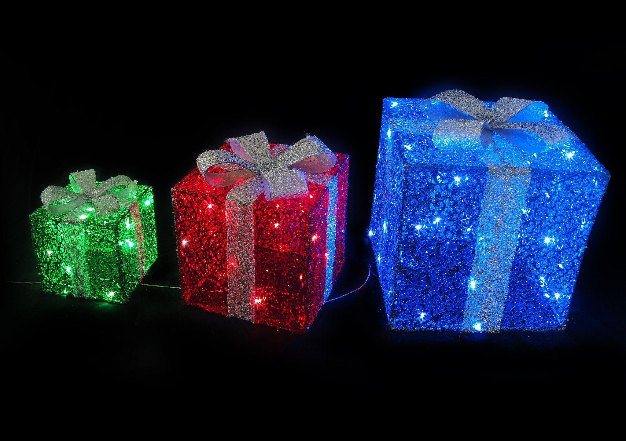 LED Glitter Presents 3pc - Christmas World