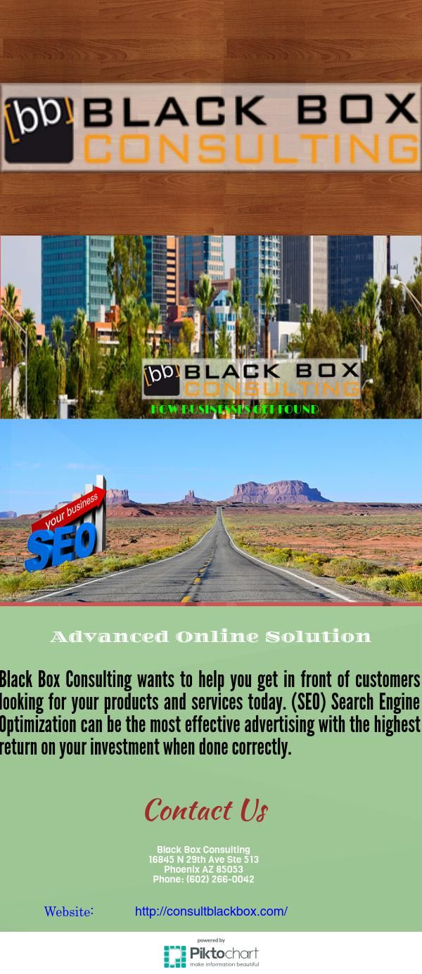 Black Box Consulting wants to help you get in front of customers looking for your products and services today. (SEO) Search Engine Optimization can be the most effective advertising with the highest return on your investment when done correctly.