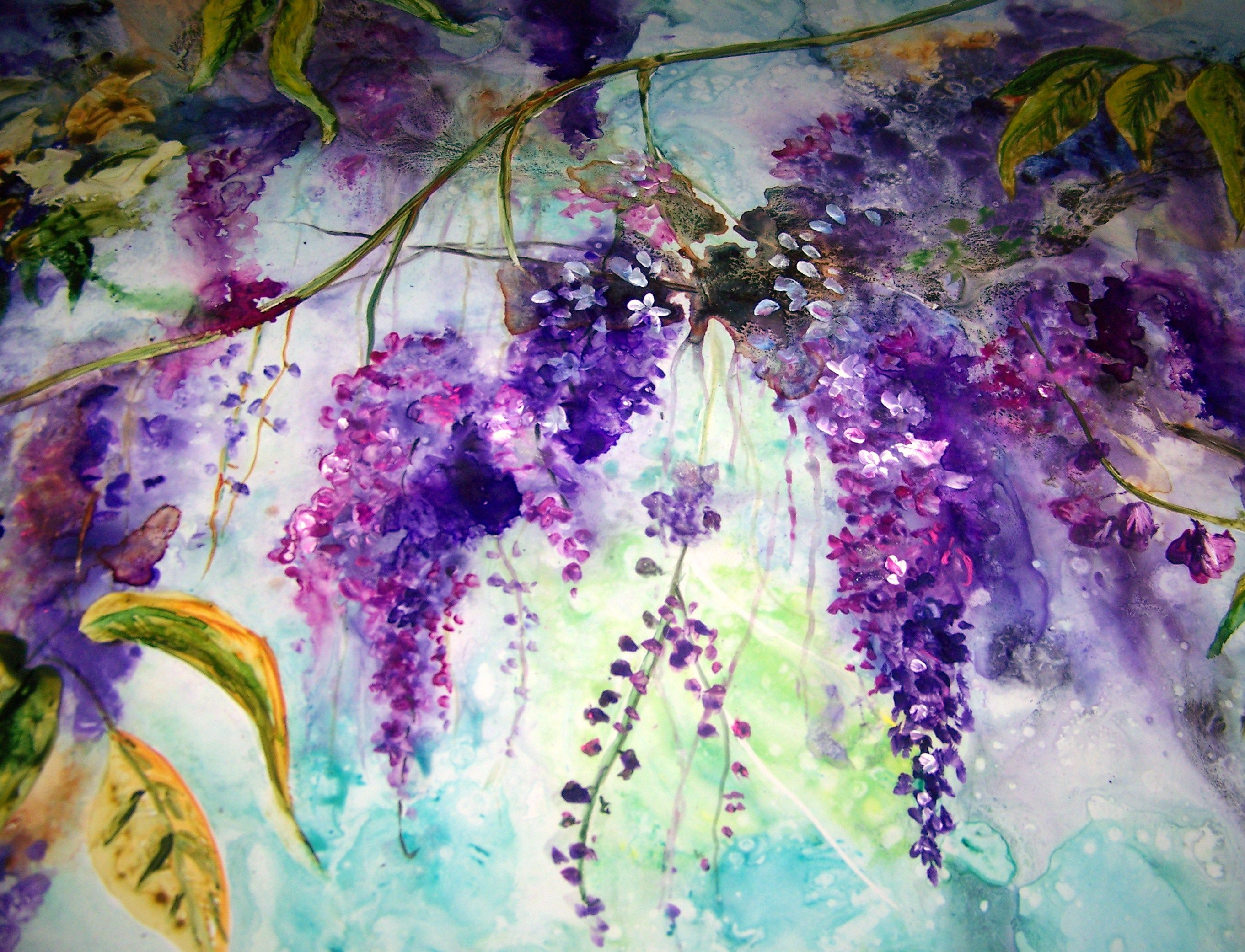 Large Watercolor Wisteria Painting For Sale On Yupo Paper