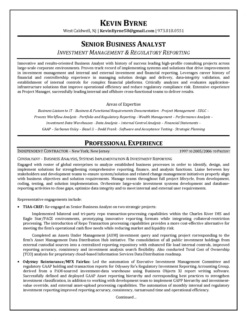 sample business analyst resume