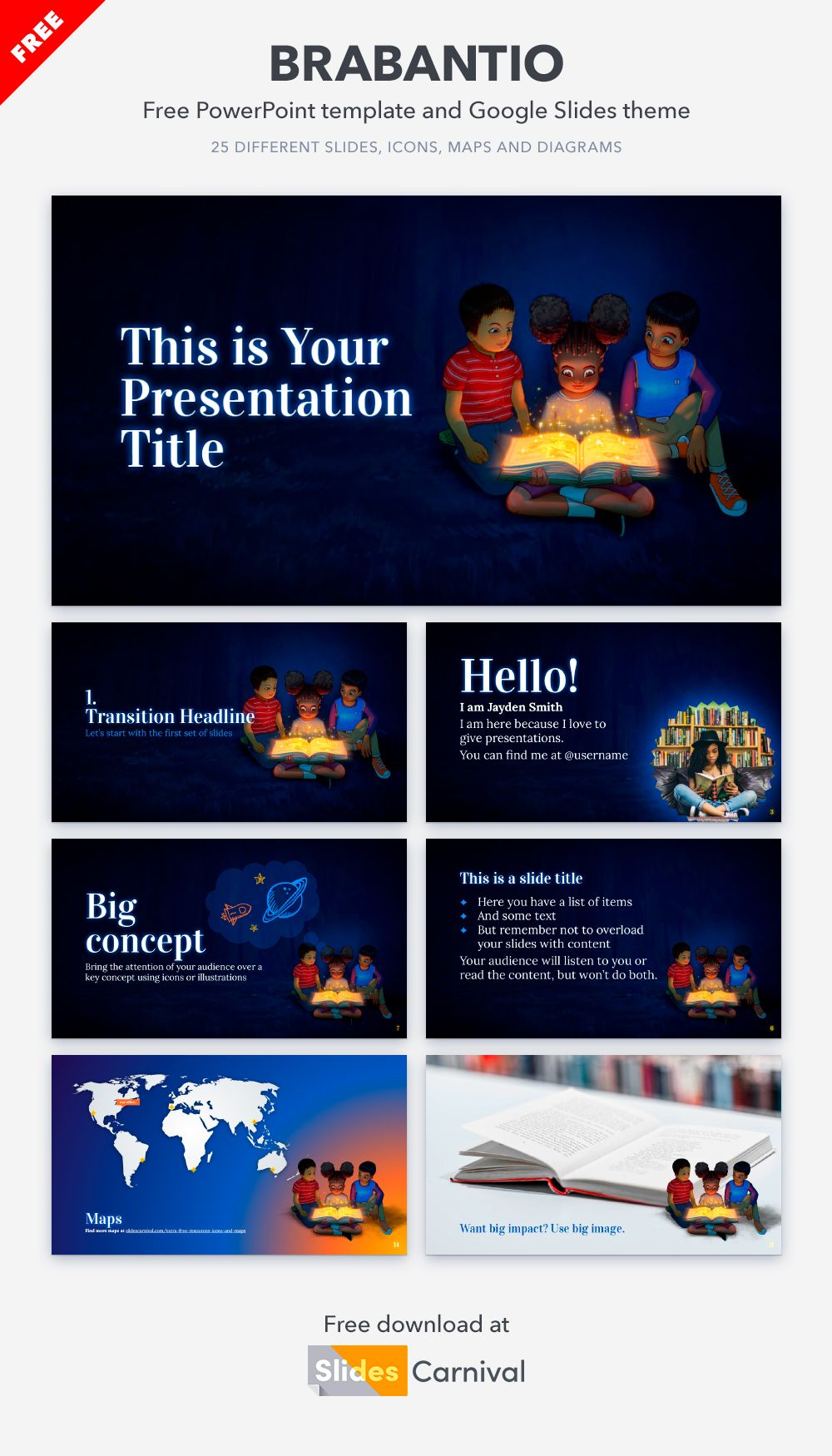 Reading Is Magical Free Powerpoint Template Google Slides Theme Presentation Template Free Powerpoint Templates Google Slides Themes