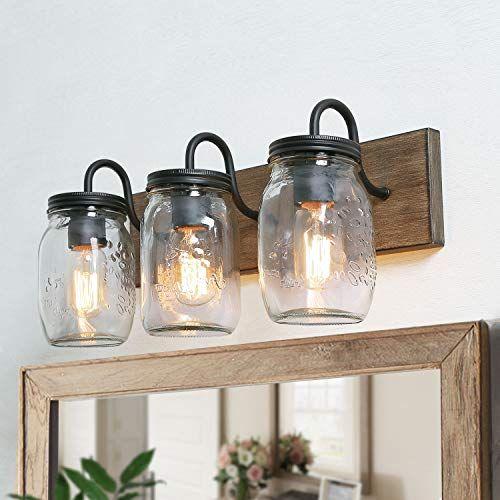 Photo of LNC bathroom vanity fittings farmhouse mason jar lights with imitation wood finish, L18 x H8 x W9.5, brown