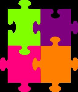Jigsaw Puzzle 4 Pieces Clip Art Clip Art Free Clip Art Fluorescent Colors