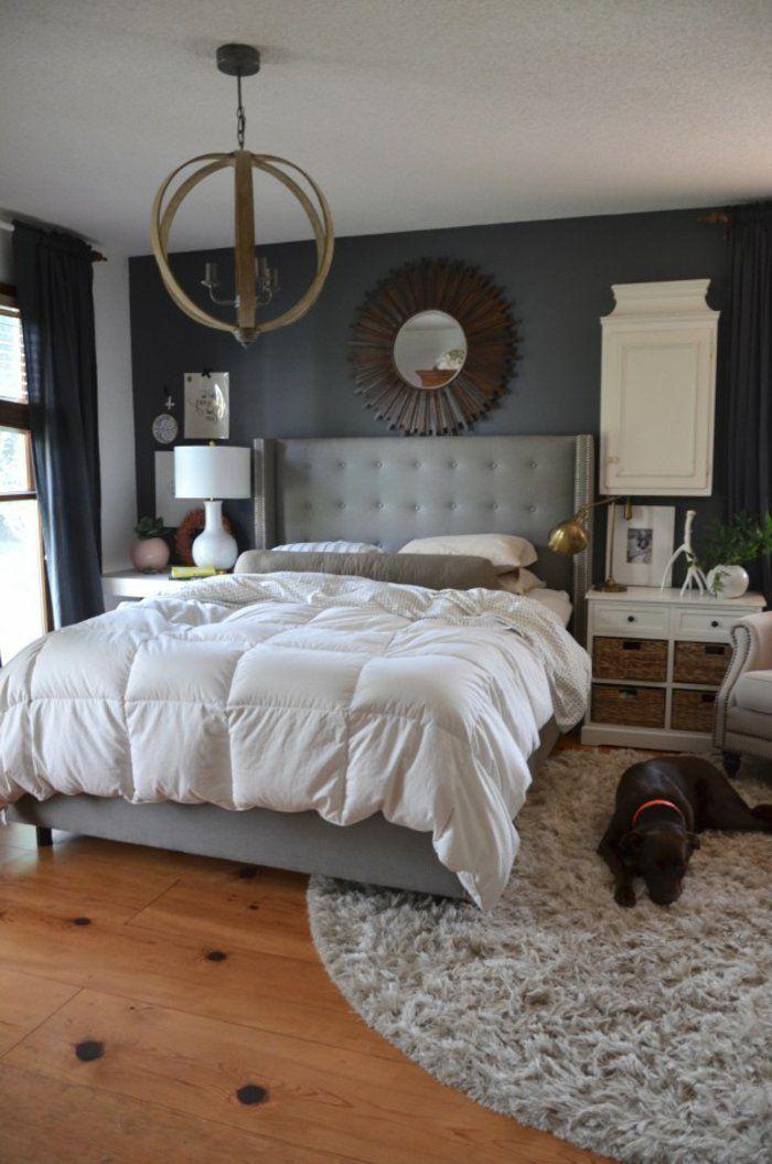 Schlafzimmer Grau Graue Wände Runder Teppich