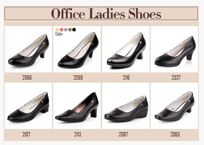 low square heel ladies office shoesblack leather women dress branch office shoe