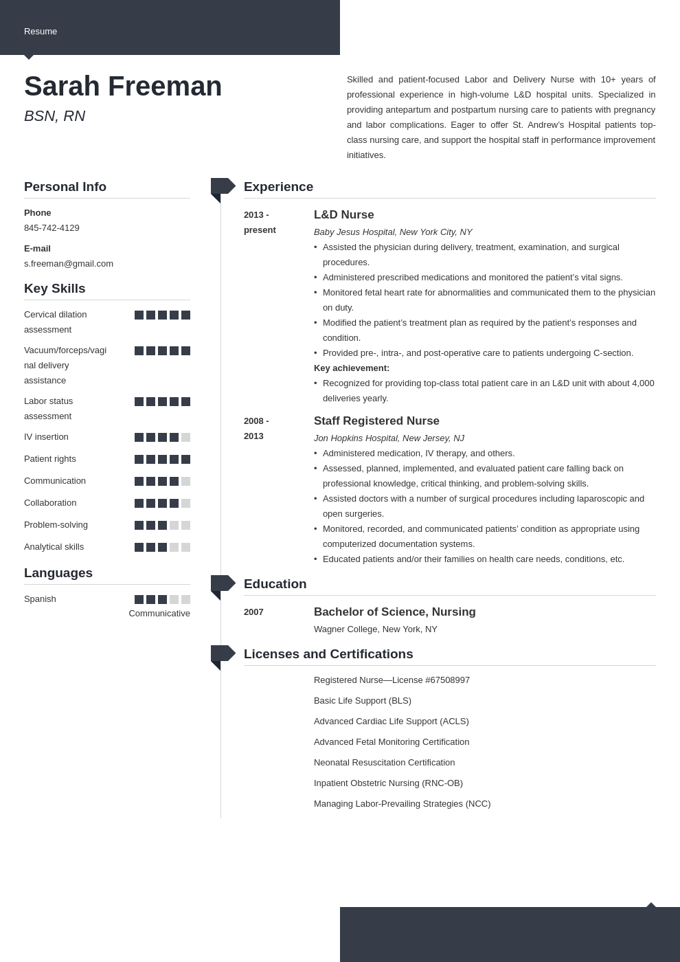labor and delivery nurse resume example template modern in
