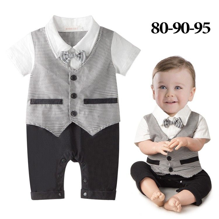 Price Tracker And History Of Wholesale Infant Toddler Baby Boys Formal Wear Tuxedo RompersDouble Breasted Clothing Boy