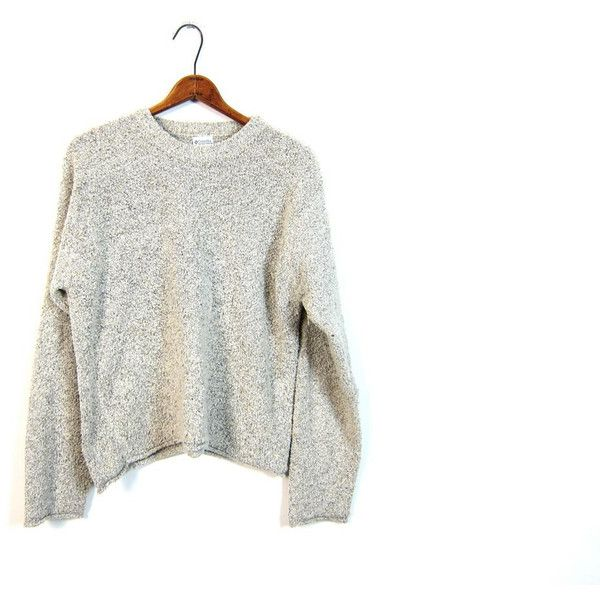 Nubby Knit Sweater Slouchy Cropped Minimal Basic White Gray ...