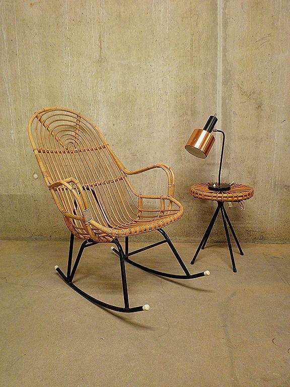 vintage rotan schommelstoel fauteuil Rohe Noordwolde