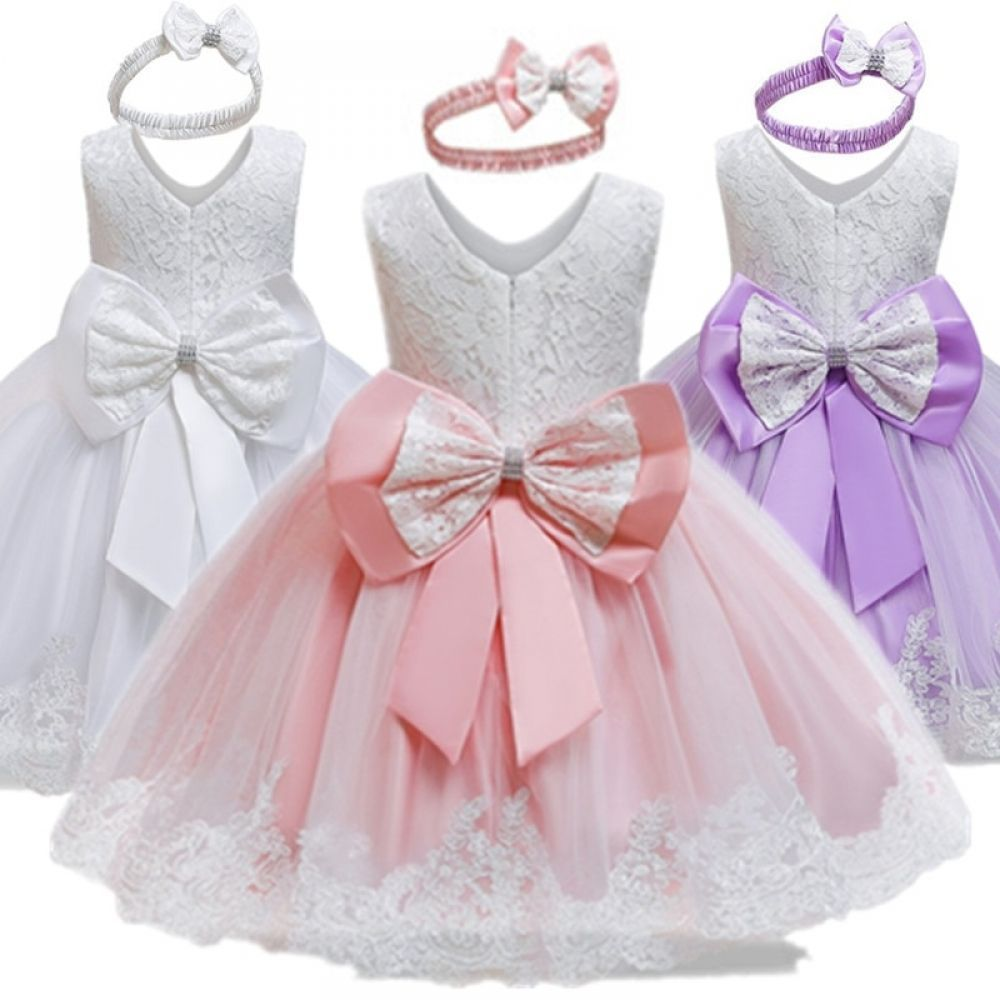 girls dress christmas children lace flower wedding gown