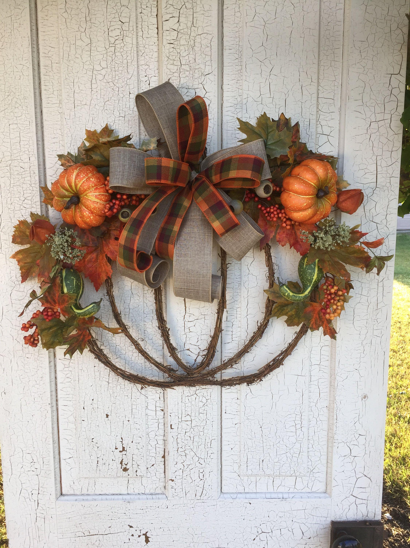 Fall Door Hanger Fall Pumpkin Wreath Pumpkin Door Hanger Grapevine Pumpkin Pumpkin Wreath Fall Swag Fall Wreath Autumn Wreath Double Door Fall Crafts Diy Pumpkin Door Hanger Fall Crafts
