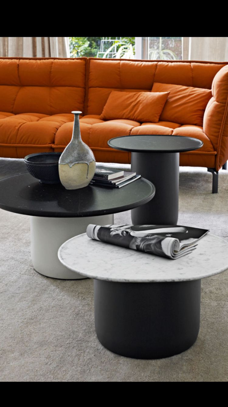 """B&B Italia, made in Italy., project by Edward Barber & Jay Osgerby: Button coffee & side tables in polyethylene, wood & steel. Tops in marble: carrara white marble """"venatino statuarietto"""" or marquinia, both in matt polyester finish."""