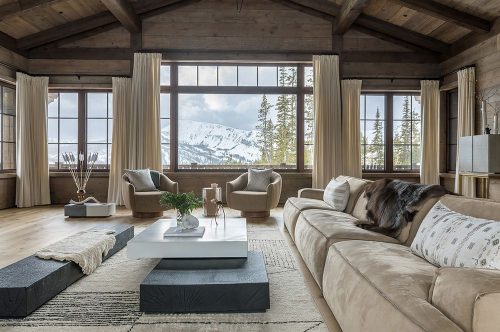 Stunning Alpine Chalet With Mountain Peaks View In Montana Photos Ideas Design In 2020 Chalet Chic Alpine Chalet Montana Interior Design