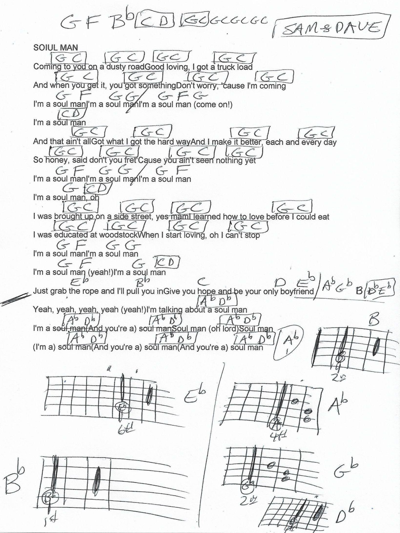 Soul Man Sam Dave Guitar Chord Chart Music Charts Guitar Chord Chart Soul Music
