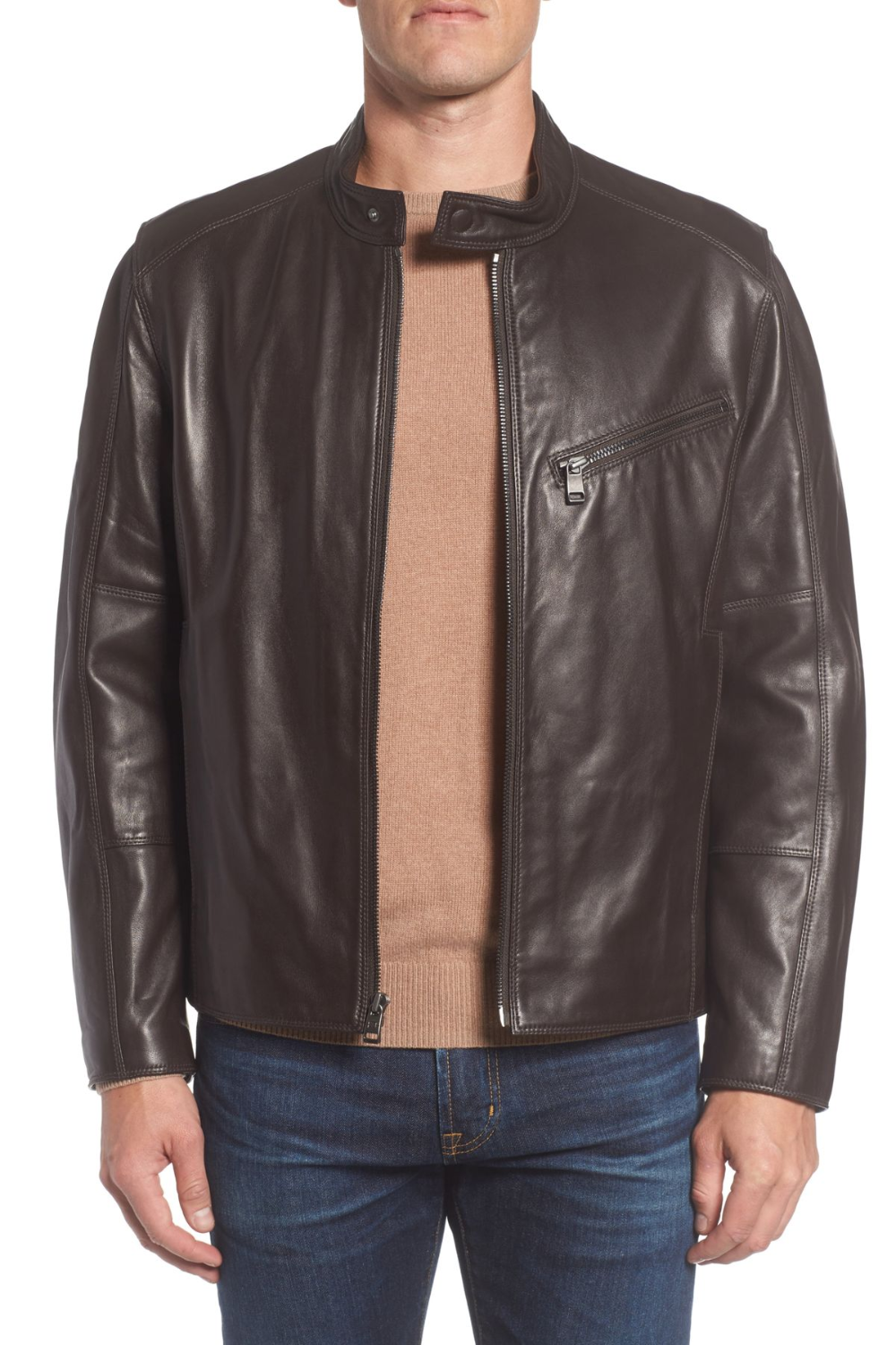 Andrew Marc Gibson Slim Leather Moto Jacket in 2020