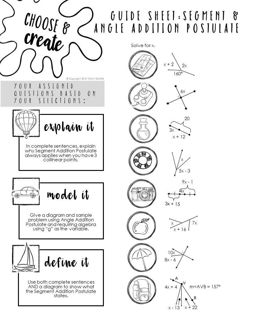 Segment Angle Addition Postulate Quiz Practice Activity