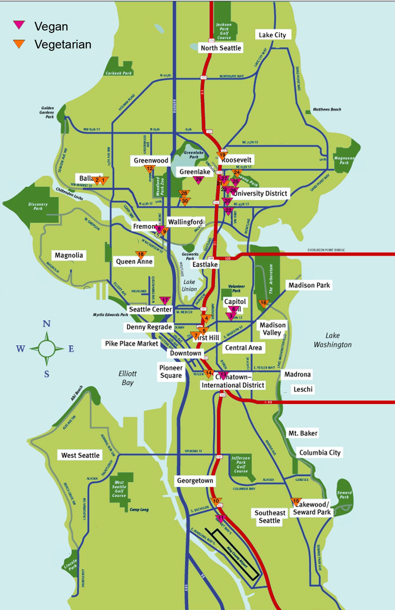 map of seattle | Vegetarian Map of Seattle: Best Meat-Free ... Downtown Seattle Map on