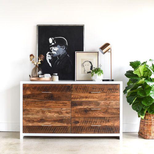 White Reclaimed Wood 6 Drawer Dresser What We Make Scandinavian Dresser Furniture Building Furniture