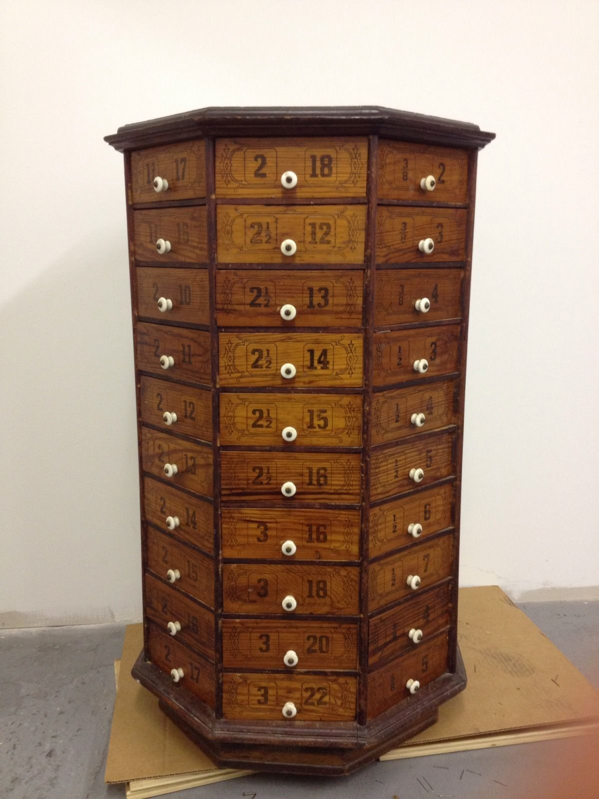 Antique Wood Hardware Store Cabinet 80 Drawers Rotates - Antique Wood Hardware Store Cabinet 80 Drawers Rotates Antique