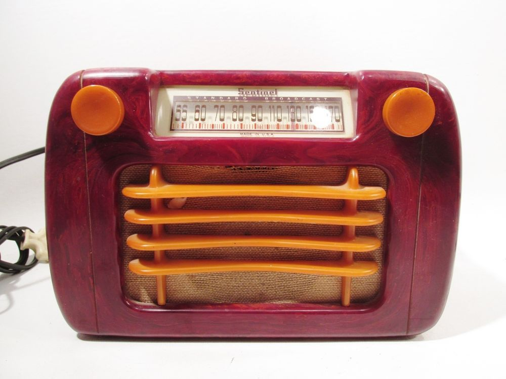 Art Deco Sentinel Red Butterscotch Catalin Bakelite Radio