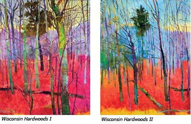 {Wisconsin Hardwoods :: Rodger Bechtold} #artmailartist  #wisconsinart  The inspiration for these enormous paintings came long before Rodger Bechtold received a commission from the Weidner Center. While en route to the Upper Peninsula one day, he glimpsed sunlight streaming through a stand of trees and illuminating the colorful autumn leaves. The image struck a chord with Bechtold; he stopped the car and took photographs, knowing that this scene would be ideal for a future painting.