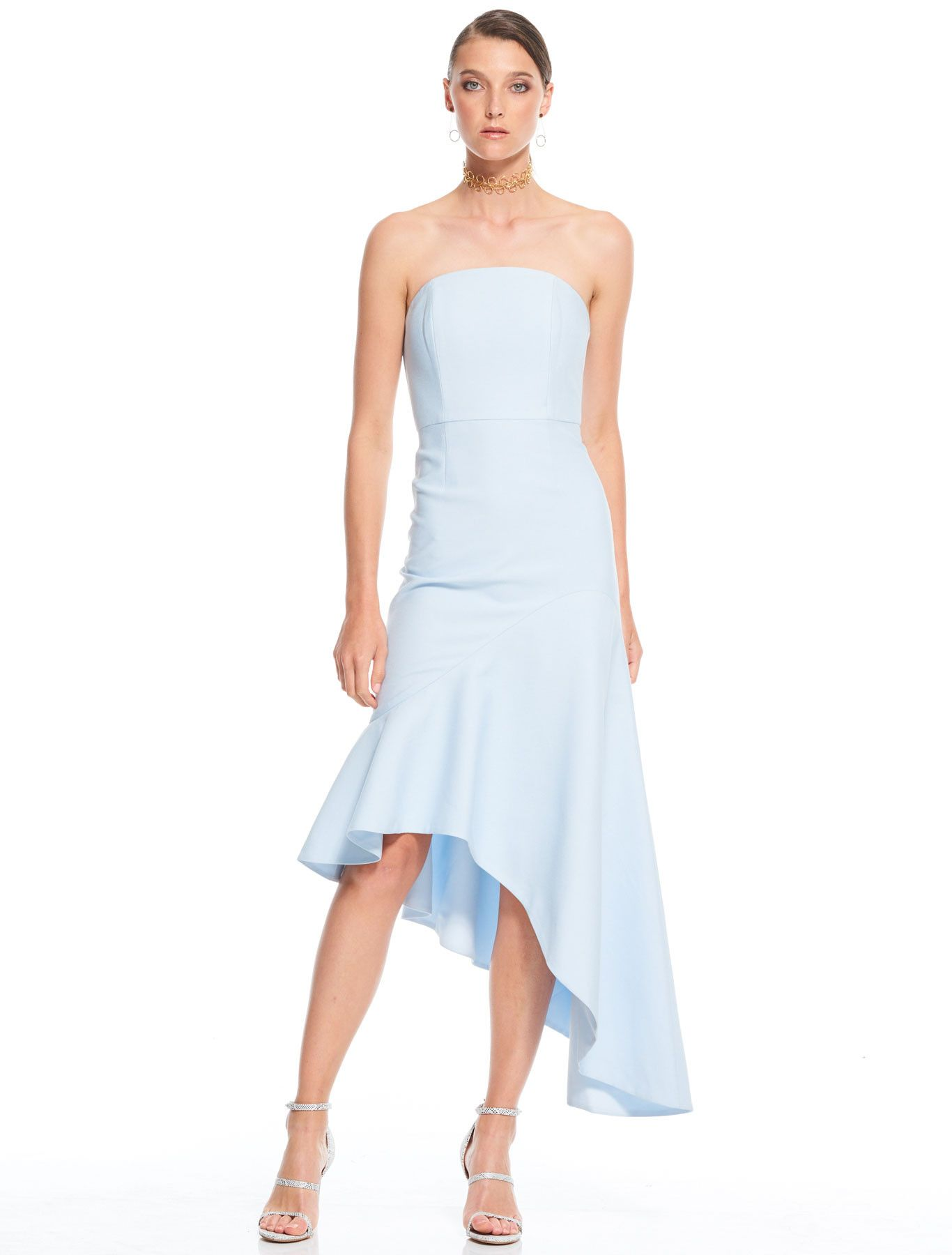 La Maison Talulah Quiet Disposition Asymmetrical Dress This Elegant Design Has A Close Ing Dressblue Fabricwedding Guest