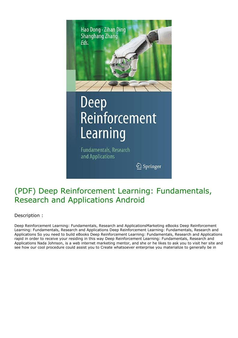 Pdf Deep Reinforcement Learning Fundamentals Research And Applications Android Deep Learning Fundamental Reinforcement